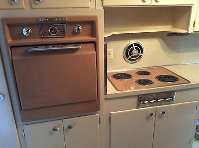 retro 1950's GE wall oven and cooktop antique