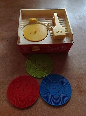 Retro 1970's Fisher Price Music Box Vintage Toy Record Player Complete 3 Discs