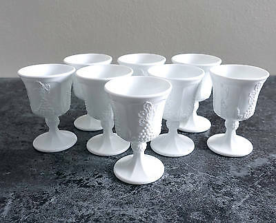 Vintage Set of 8 Milk Glass Goblets Chalices