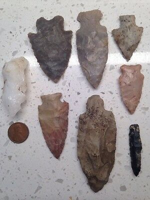 Indian Artifacts- 8 Great Arrowheads Spear Points VA Estate