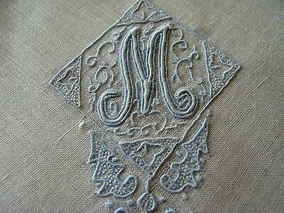 FABULOUS Vintage Appenzell Linen Hanky Fancy M Monogram Hand Embroidered
