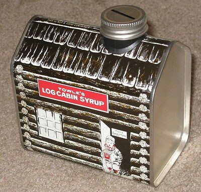 1979 Towle's LOG CABIN SYRUP Tin Coin Bank HOME SWEET HOME Excellent Condition
