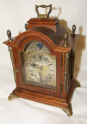 vintage Dutch Mantle Bracket Shelf Clock moonphase WARMINK WUBA striking oak
