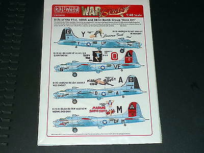 Kits World Decals 148006 1/48 B-17G Fortress 91, 100 & 381st Bomb Group Nose Art