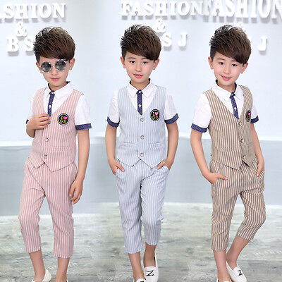 Boys Suits Waistcoat Suit Formal baby Kids Short Suit Wedding Party Outfits 1-8Y