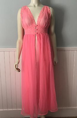 Vintage Pink Sheer DOUBLE LAYER Nylon Lace NIGHTGOWN Negligee Peignoir Gown S