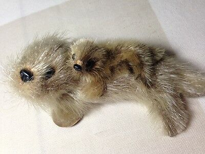 """REAL Fur Miniature SEAL & PUP Leather Flippers Collectible Animal Toy 4.5"""" x 2"""""""