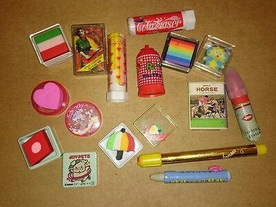 Vintage Eraser Rubber Gomme 1980s Bundle Job Lot Cased Lipstick Lemon Co Ribbon