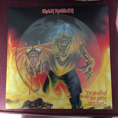 """Iron Maiden Number of the Beast 12"""" Picture Disc Single - Near Mint Condition"""