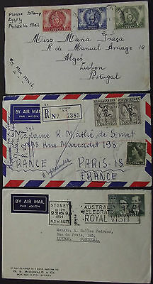 Australia Airmail 3 Covers To Portugal & France 1947, 1954, 1957 , 1 Registered