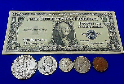 Old Silver Dollar Cert. 90% Old Silver Coins Jefferson Nickel & Wheat  Penny
