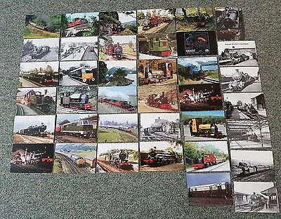 Collection of 38 Railway Steam Trains Postcards from early 90's