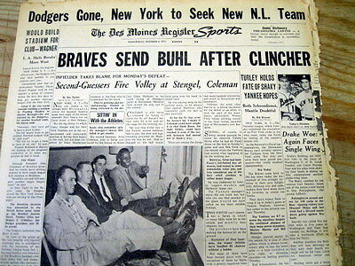 1957 newspaper BROOKLYN DODGERS baseball team MOVES to LOS ANGELES California
