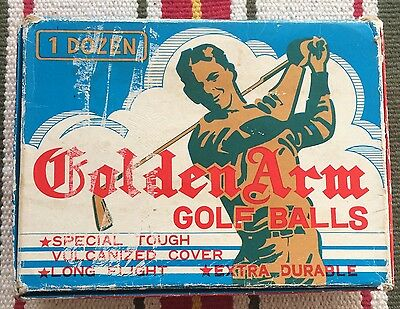 Vintage Golden Arm Golf Balls - Display Box - Collectable - 7 Unused