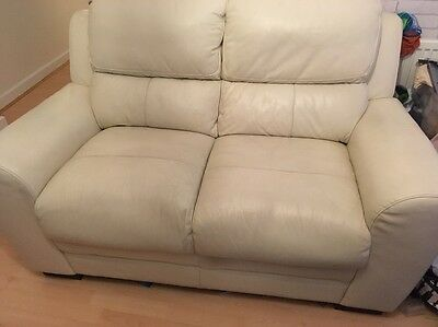 Cream Leather 2 Seater Sofa In Good Used Condition