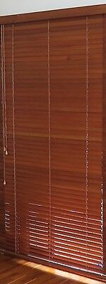 50mm Wooden Cedar Venetian Timber Blinds - 218cm drop