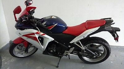 2013 Honda CB  HONDA CBR 250 Red -White - Excellent Condition with Gold mufflers and foot pads