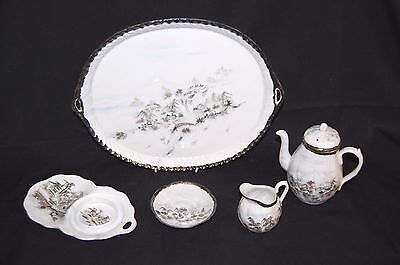 Vintage Chinese Porcelain part Tea set With Tray, mountain scene W/V
