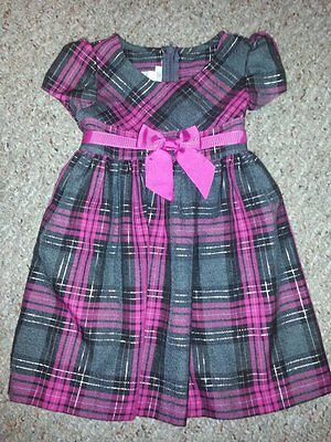 BONNIE JEAN Pink and Gray Plaid Short Sleeved Dress Girls Size 3T NEW
