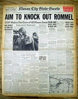 <4 1942 WW II newspapers NORTH AFRICA CAMPAIGN 2nd Battle of El Alamein ROMMEL