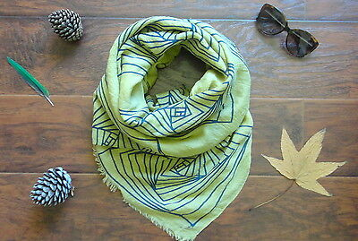 New Women Mustard and Blue Cotton Shawl Wrap Scarf