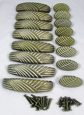 Lot of 16 Vintage Ribbed Solid Brass Handles & Knobs Mid Century Art Deco Pulls