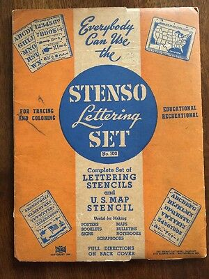 Vintage WW2 Era 1941 1943 STENSO Stencils Lettering Set map USA doubles - NICE!