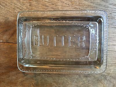 Vintage Pressed Glass Butter Dish Plate and Cover One Pound Size 7.5 x 5.25