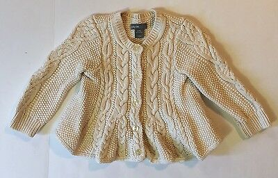 Baby Gap Infant Girls Buttons Ivory Chunky Knit Peplum Sweater Size 6-12 EUC