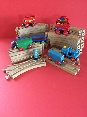 Wooden Train Track Bundle With Trains Compatible Brio Elc 40 Pieces