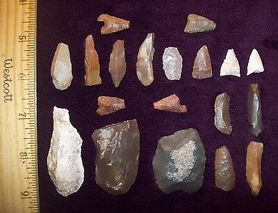 Neolithic Arrowheads / Group of 19 (DAMAGED/Assorted)