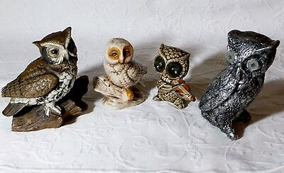 Lot of 4 Decorative Owl Figurines - Vintage, Homco, Unknown - Multi Colors