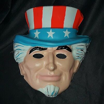 Vintage 1970s Ben Cooper Halloween Mask UNCLE SAM patriotic hat RARE