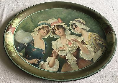 Antique A Tea Party No. 51 Tole Toleware Victorian Advertising Tin TRAY Litho NR