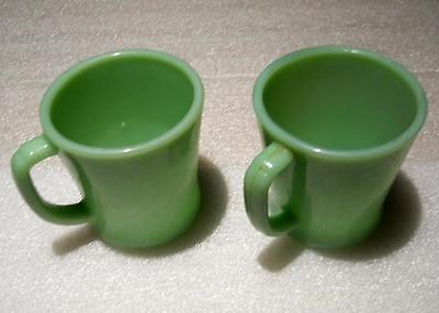2 Fire king / Oven Ware D handle Cups Jadite Jadeite
