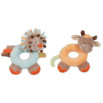 NEW NATTOU Little Garden Soft Plush Baby Toy Ring Rattles - Hedgehog & Cow