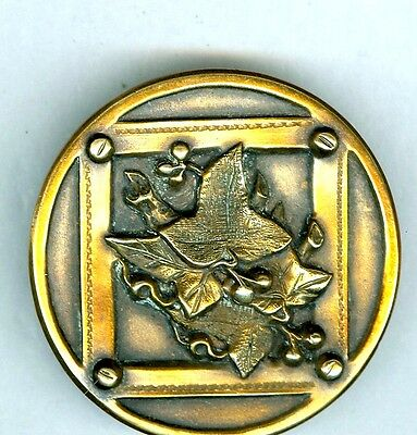 X-Large SPECIAL Brass Picture Button - Oak Leaves in Square