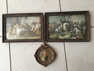 Old Framed Pictures Of Napoleon Battle Of Waterloo and Divorcement of Josephine
