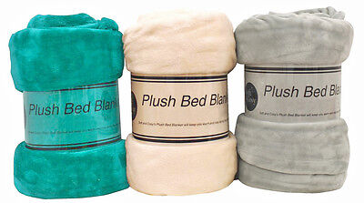 Plush Blanket Throw Rug Queen/King Bed Couch Soft/Cosy/Adult 220x240cm