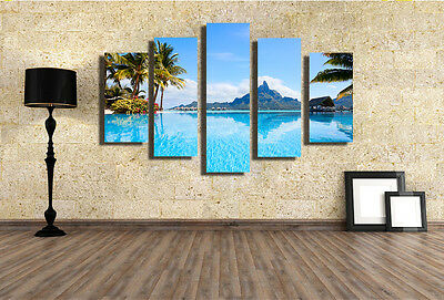 Modern Abstract Large Wall Decor Art Oil Painting Beach Scenic Canvas No Frame