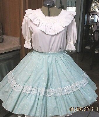 S-Sb-#2-2 Piece Square Dance Dress ,white And Green