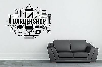 Barbershop Wall Decal Hair Stylist Salon Barber Decor Vinyl Sticker Hairdresser
