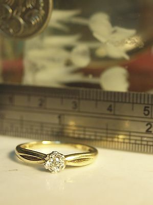 Vintage Diamond Ring Solitaire 9ct Yellow Gold
