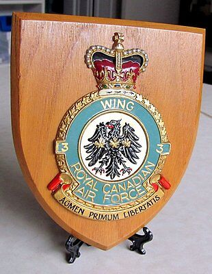 RCAF Royal Canadian Air Force Wing 3  Plaque 50s-60s Era Made in GT Britain