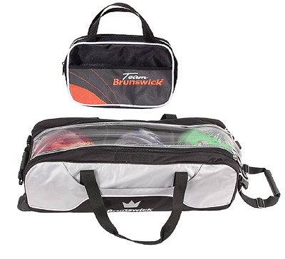 Brunswick Crown 3 Ball Tournament Tote Bowling Bag Silver & Free Accessory Bag