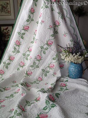 "So Romantic! Pink Cottage Roses Vintage Embroidered Floral QUILT 91"" x 66"""
