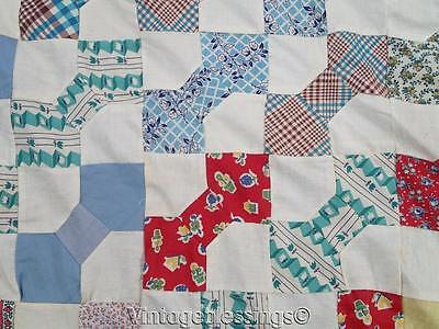 "Charming VINTAGE 30-50s Feedsack prints Bow Tie QUILT TOP 75"" x 67"""