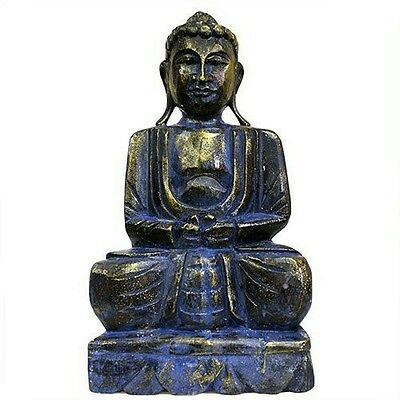 Limited Large Carved Wooden Albesia Buddha Statue - Blue/Gold