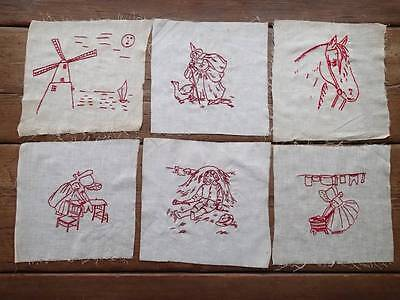 Set Of 6 Intricate ANTIQUE Redwork Hand Embroidered PENNY Quilt Blocks 9x8