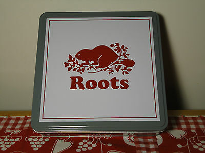 """Roots Canada Collectible Gift Tin Can with Beaver Logo Gray 7 3/4"""""""